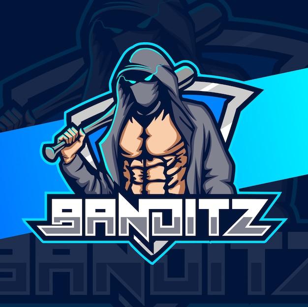Logo esportatore mascotte bandito
