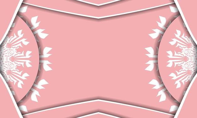 Baner rosa con ornamenti greci bianchi per il design sotto il tuo logo