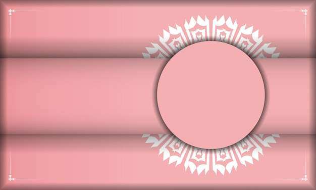 Baner rosa con ornamento bianco vintage per il design sotto logo o testo