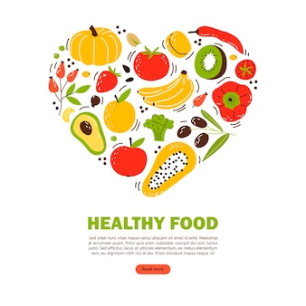 Baner con prodotti alimentari sani. cartoon illustrazione piatta