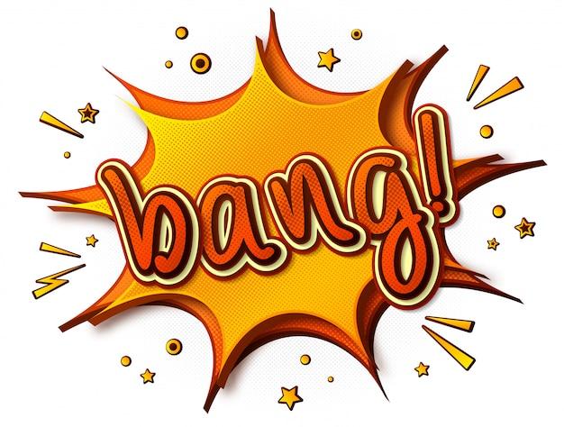 Bang comics. banner di cartone giallo-arancione. bolla di pensiero ed effetti sonori in stile pop art.