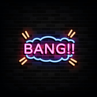 Bang signs template neon style