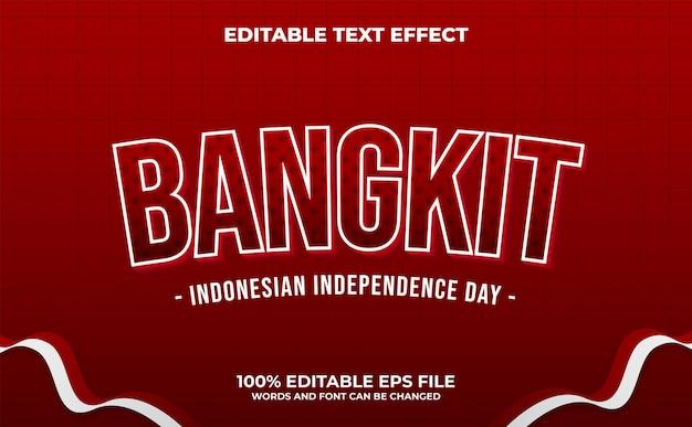 Effetto testo in grassetto bangkit - è la celebrazione della festa dell'indipendenza indonesiana media vettore premium
