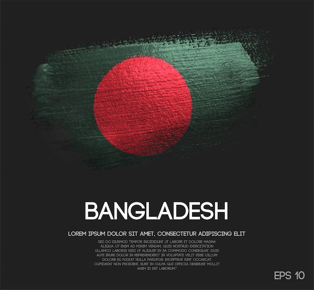 Bandiera del bangladesh fatta di glitter sparkle brush paint vector