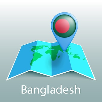 Mappa del mondo di bandiera del bangladesh nel pin con il nome del paese su sfondo grigio