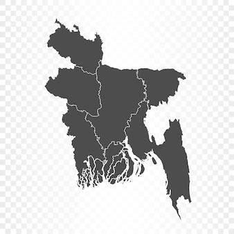 Mappa del bangladesh isolata su trasparente Vettore Premium