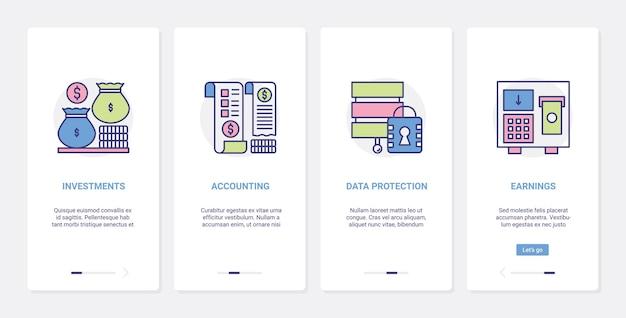 Contabilità bancaria, investimenti finanziari, ux, set di schermate della pagina dell'app mobile di onboarding dell'interfaccia utente