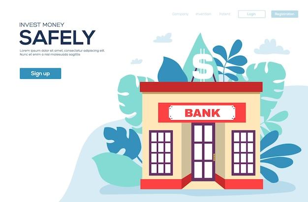Volantino del concetto di edificio bancario, banner web, intestazione dell'interfaccia utente, accedi al sito. pagina del sito di scorrimento dell'illustrazione moderna.