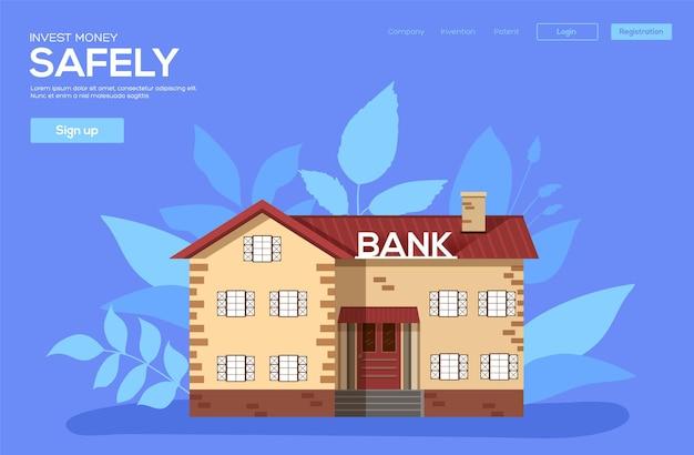 Modello di pagina di destinazione del concetto di edificio bancario.