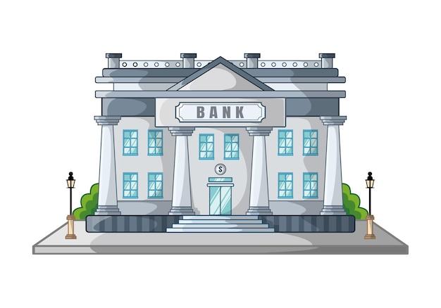 Cartone animato di progettazione di edificio bancario