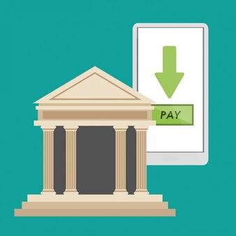 Lo smartphone per la costruzione di una banca paga online