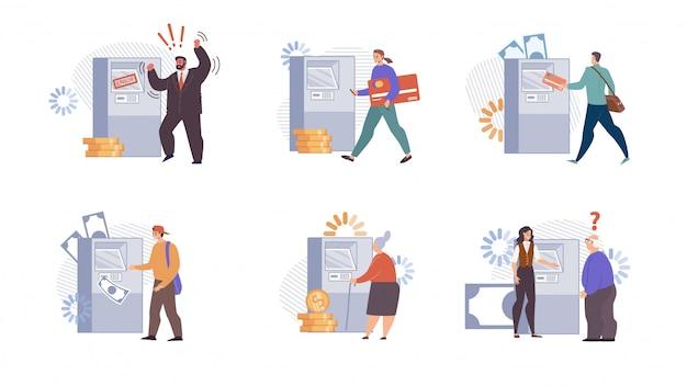 Personaggi dei clienti della banca che utilizzano atm flat set