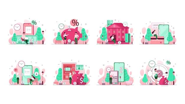 Insieme dell'illustrazione di concetto della banca. idea di pianificazione finanziaria, investimento e trasferimento di denaro, pagamenti tramite telefono cellulare e altre operazioni. illustrazione al tratto