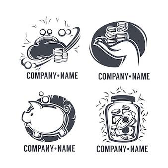 Insieme di logo di banca, credito e finanza