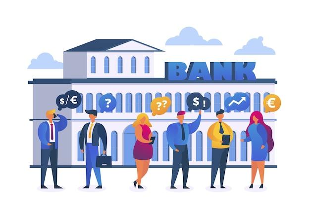 Cambio valuta bancario con uomini d'affari