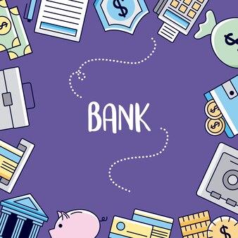 Insieme dell'icona della banca