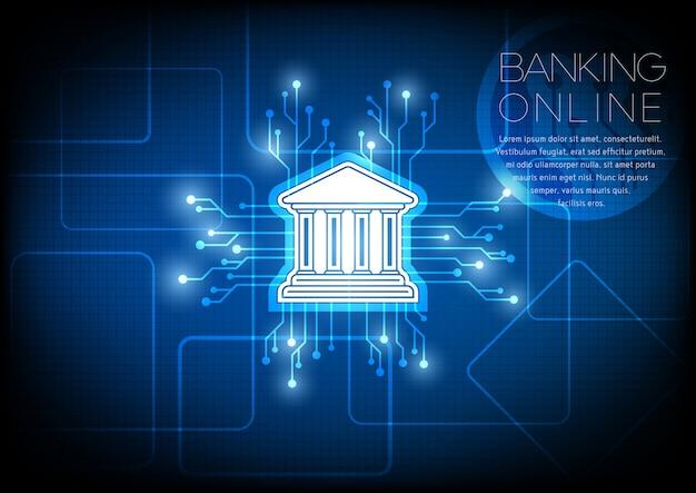 Icona della banca con il concetto di sfondo del circuito