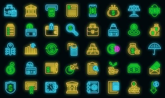 Icone della banca impostate vettore neon