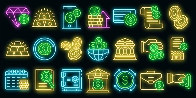 Set di icone di metalli bancari. contorno set di icone vettoriali di metalli bancari colore neon su nero