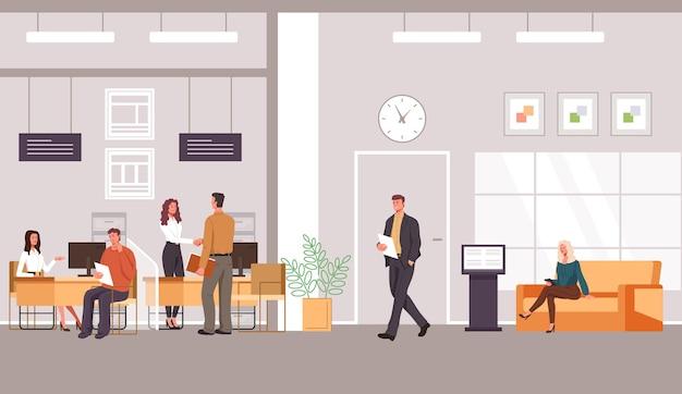 Interiore dell'ufficio bancario e cliente con design piatto illustrazione lavoratori specialisti bancari