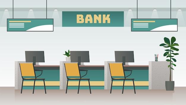 Illustrazione interna dell'ufficio bancario