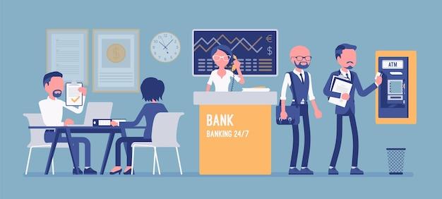 Ufficio bancario che lavora con l'illustrazione dei clienti