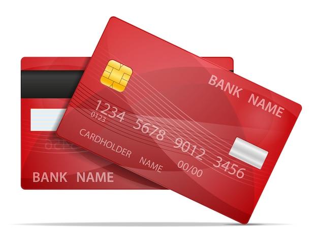 Carta di plastica della banca isolata su priorità bassa bianca Vettore Premium