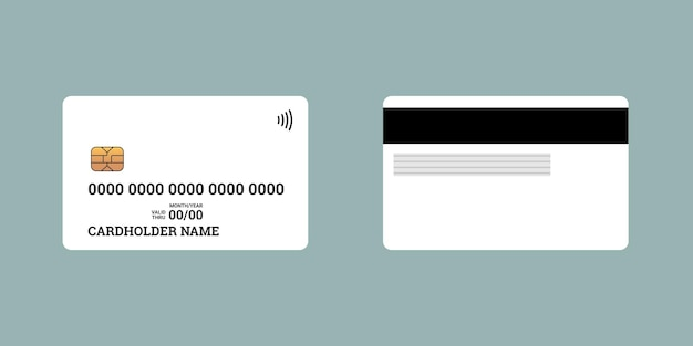 Lato anteriore e posteriore della smart card contactless di credito o debito in plastica della banca con chip emv e banda magnetica. modello di modello di design vuoto. illustrazione bianca isolata vettoriale