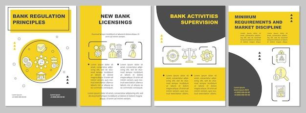 Modello di brochure sulle regole del regolamento bancario. licenza bancaria. volantino, opuscolo, stampa di volantini, copertina con icone lineari. layout vettoriali per presentazioni, relazioni annuali, pagine pubblicitarie
