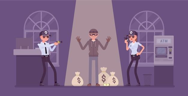Rapinatore di banche catturato dall'illustrazione della polizia