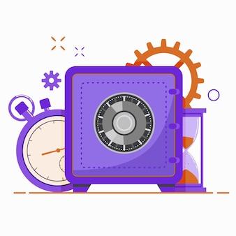 Cassaforte della banca. risparmio di denaro di sicurezza, deposito e concetto di protezione del denaro.