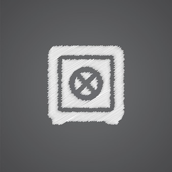 Banca sicura schizzo logo doodle icona isolato su sfondo scuro