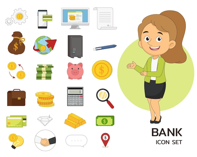 Icone piane di concetto stabilito della banca
