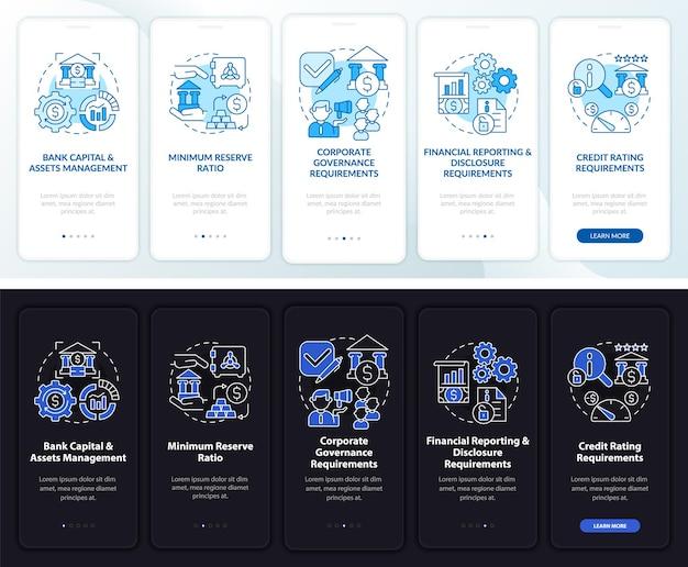 Schermata della pagina dell'app per dispositivi mobili per la supervisione della banca. procedura dettagliata di gestione delle risorse 5 passaggi istruzioni grafiche con concetti. modello vettoriale ui, ux, gui con illustrazioni lineari in modalità giorno e notte