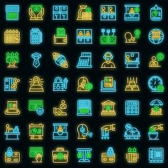 Set di icone di cassiere di banca. contorno set di icone vettoriali cassiere di banca colore neon su nero