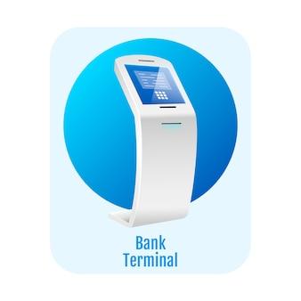 Concetto piatto terminale della banca. chiosco self service finanziario.