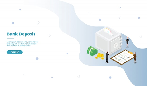 Campagna sicura di deposito di caveau di una banca per l'homepage di landing page di un sito web con stile piatto isometrico