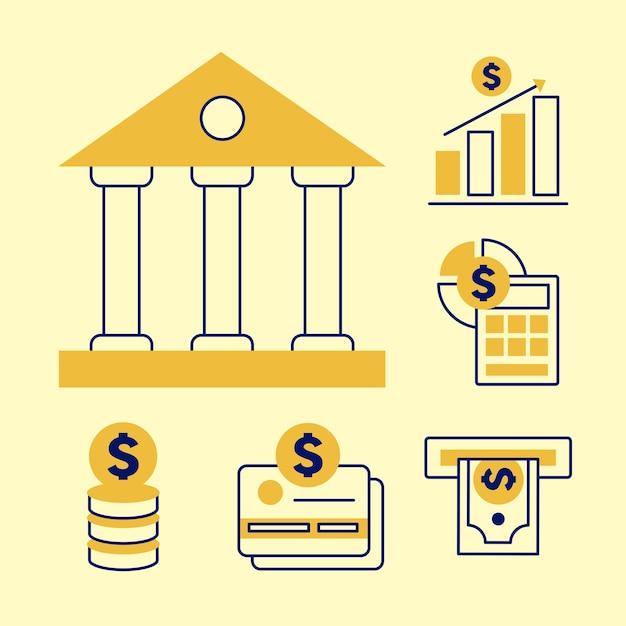 Banca con set di simboli finanziari e aziendali di denaro