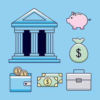 Banca con icone di denaro
