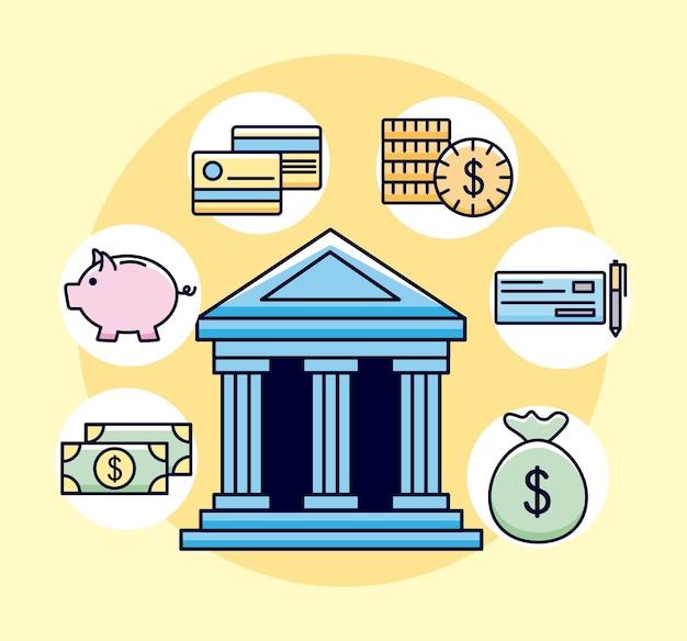Banca con simboli di denaro