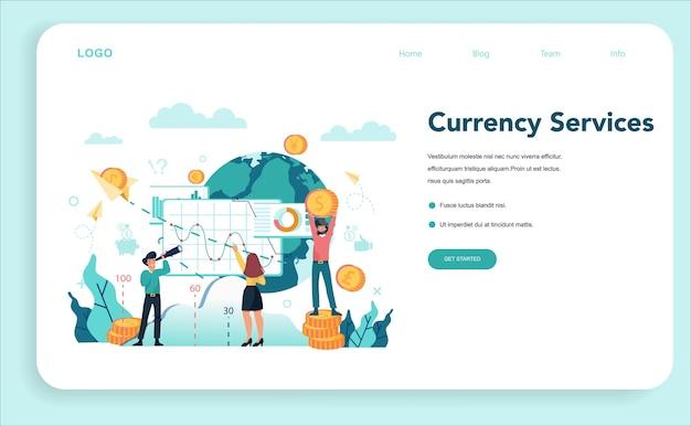 Modello web o pagina di destinazione del concetto di banchiere o bancario.