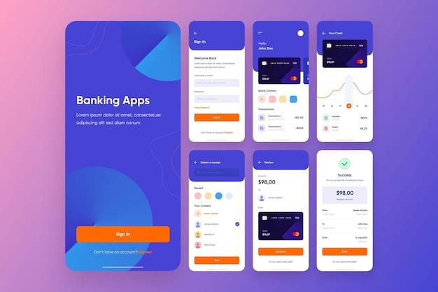 Raccolta dell'interfaccia dell'app bancaria