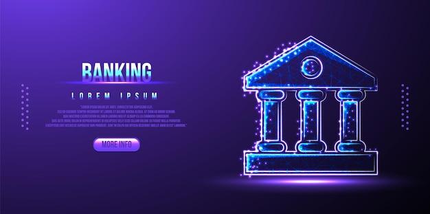 Edificio bancario, gestione delle finanze aziendali wireframe low poly