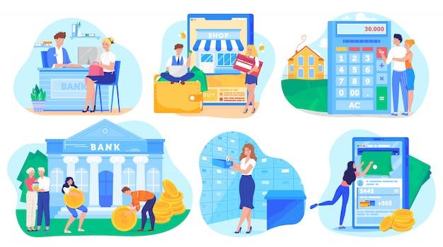 Concetto di attività bancarie, personaggi dei cartoni animati della gente che risparmiano soldi e che comperano online, illustrazione