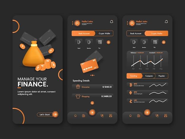 Modelli di schermata iniziale dell'app mobile bancaria in tre opzioni.