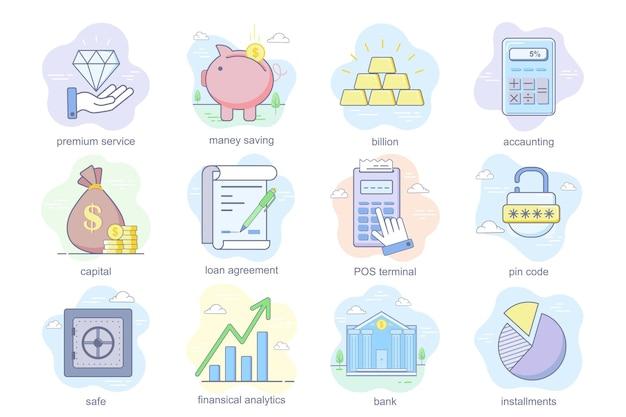 Le icone piatte del concetto di servizio bancario impostano il pacchetto di risparmio di denaro contratto di prestito contabile terminale pos...