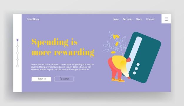 Sistema bancario, pagina di destinazione del sito web di transazioni online.
