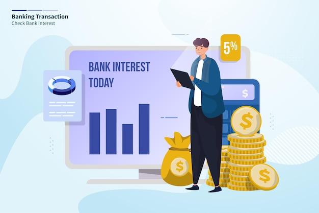 Illustrazione di finanza di transazione bancaria