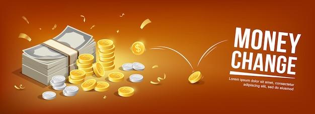 Banconote monete d'argento e monete d'oro rimbalzano concept banner design su sfondo arancione