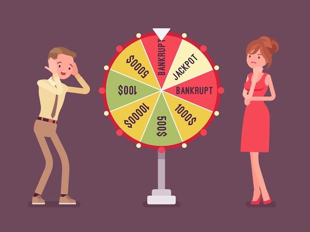 Uomo in bancarotta e infelice che perde nel gioco a premi